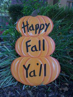 Stacked Pumkins Happy Fall Ya'll Halloween Yard by samthecrafter