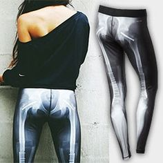 Nike X-ray Skeleton Printed Tights - Perfect for Halloween... the front looks like a normal X-ray, but the back reveals broken bones, screws and hip replacements...
