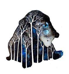 Bear with  Sky paint