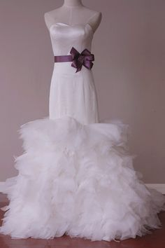 Sweetheart Neck Line Sleeveless Satin and Tulle Wedding by LAmei, $680.00