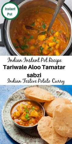 Aloo Tamatar Sabzi - North indian Potato curry without onions, garlic or ginger.Festive potato curry usually made with Pooris. Garlic Recipes, Curry Recipes, Soup Recipes, Vegetarian Recipes, Healthy Recipes, Aloo Recipes, Best Instant Pot Recipe, Instant Pot Dinner Recipes, Aloo Curry