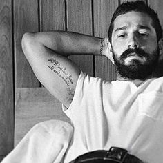 """GOD: my lord, fierce, wild, and romantic""  Shia Labeouf  Tattoo"
