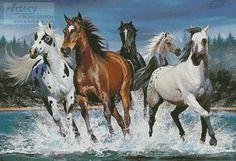 Artecy Cross Stitch. Wild Horse Cross Stitch Pattern to print online.