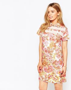 Love Floral Shift Dress With Contrast Panels