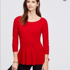 Ann Taylor Red Cashmere Peplum Sweater New with tags. Cashmere. Size medium. No trades and posh only Ann Taylor Sweaters