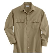 Carhartt Men's Khaki Twill Long Sleeve Work Shirt