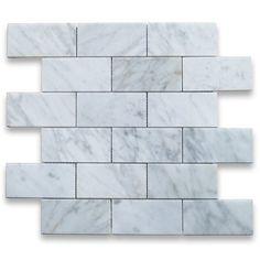 Amazon.com: Carrara White Italian Carrera Marble Subway Brick Mosaic Tile 2 x 4 Polished: Home Improvement