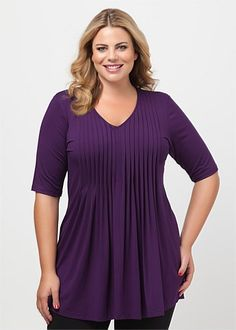 Plus Size Tops - Plus Size Evening Tops | Plus Sized Womens Tops - AMBIENT V-NECK TUNIC - Virtu