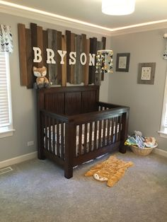My baby boy's nursery. Woodland adventure theme nursery. Adventure nursery Woodland nursery Baby boy nursery Wood plank wall Fox nursery  Brave nursery  Arrow nursery