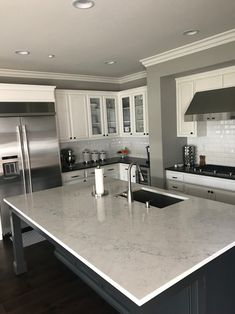 LG Viatera Muse and Karis Quartz Quartz Kitchen Countertops, Kitchen Cabinets, Kitchen Ideas, Kitchen Design, Falmouth, Home Living Room, Backsplash, Home Remodeling, Lazy