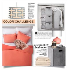 """""""Color Challenge: Gray & Peach"""" by dolly-valkyrie ❤ liked on Polyvore featuring interior, interiors, interior design, home, home decor, interior decorating, Room Essentials, Sunpan, Emporium Home and PBteen"""