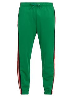 Gucci Side-stripe Tapered-leg Jersey Track Pants In Green Gucci Gucci, Gucci Men, G Man, Men's Style, Jogging, Active Wear, Harem Pants, Sweatpants, Mens Fashion