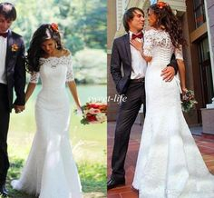 Elegant 2016 Spring Lace Wedding Dresses Mermaid with Half Sleeves Corset Sheer Bateau Chapel Train Princess Plus Size Bridal Wedding Gowns Online with $139.33/Piece on Sweet-life's Store | DHgate.com