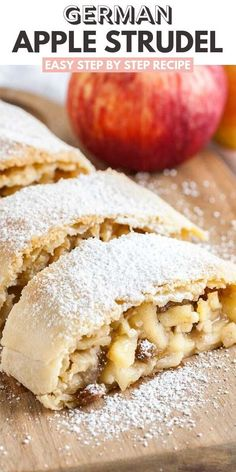 Apple Strudel is much easier to make from scratch than you think! With its flaky crust and a spiced apple filling, this Apple Dessert Recipes, Apple Recipes, Sweet Recipes, Dessert Healthy, Dinner Recipes, German Desserts, Chocolate Desserts, German Recipes, Austrian Recipes