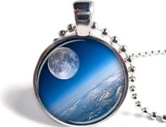 Moon Pendant Moon Necklace Space Jewelry by SunnyFoxDesigns