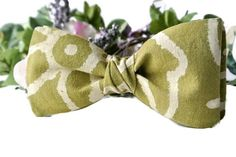Green Bow Tie  Cotton Pretied Clip-On  Olive Beige Print by ClassA