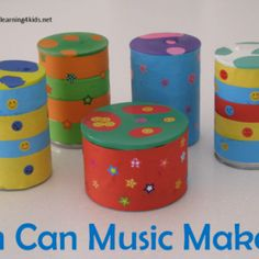 Making HOmemade Musical Instruments - Tin Can Music Makers. A fun and simple activity to do with the kids to pormote fun, learning and creative play #homemademusicalinstruments