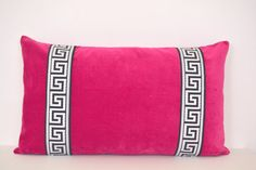 Pink Pillow - Fuchsia Velvet Lumbar Pillow with Greek Key Trim