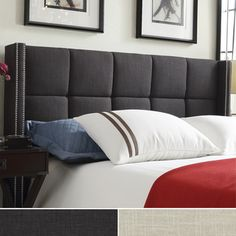 INSPIRE Q Parker Linen Nailhead Wingback Panel Upholstered Queen-sized Bed | Overstock.com Shopping - The Best Deals on Beds