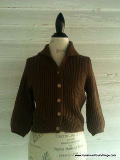 Vintage 1950s CHOCOLATE Brown Sweater by runaroundsuevintage, $24.00