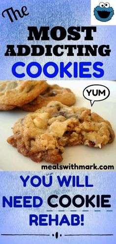 These cookies are so addicting. Make them for your family and friends and they will all be instantly hooked to these Co-Dependent Cookies. Filled with all your favorites includes walnuts, chocolate chips, peanut butter chips, toffee, and white chocolate! Cookie Brownie Bars, Cookie Desserts, Cookie Recipes, Dessert Recipes, Baking Desserts, Yummy Recipes, Amish Recipes, Cookie Ideas, Dessert Bars