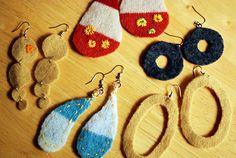 Recycled Wool Earrings, Lee Meredith, Craft Stylish. allearrings1 by -leethal-, via Flickr