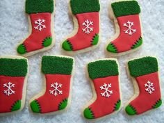 The Stockings were hung. Christmas Cookies Gift, Christmas Desserts, Christmas Treats, Christmas Baking, Christmas Stuff, Christmas Diy, Dog Cookies, Iced Cookies, Cookie Factory