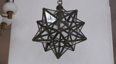 French Iron and Glass Starburst Pendant