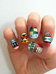 graphic design multi-colored nails.