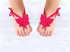 Baby Butterfly Barefoot sandals Baby shoes Hot Pink by Lasunka, €8.00