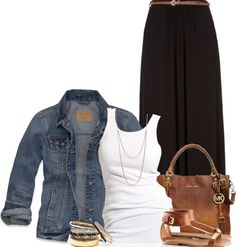 So many cute ideas! Like this casual black maxi skirt outfit. Fashion Models, Look Fashion, Fashion Outfits, Womens Fashion, Black Maxi Skirt Outfit, Maxi Skirt Outfits, Summer Maxi Skirts, Maxi Skirt Fall, Flowy Skirt