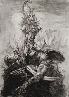 David Vs Goliath Bible Illustration (2000)  By Artist Simon Bisley Simon Bisley, Arte Horror, Horror Art, Bible Illustrations, Biblical Art, Greek Art, Bible Art, Fantastic Art, Dark Art