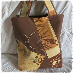 Sac cabas marron terre de sienne et motifs ethniques fait main en tissu