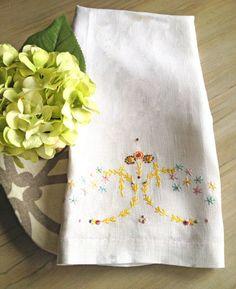 Vintage Linen Tea Towel Guest Towel Embroidered by TastefulTikes, $11.50