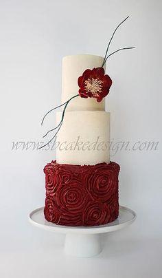 Shannon Bond Cake Design - Rose Red Buttercream Wedding Cake