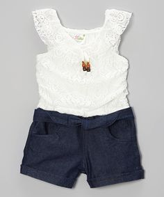 Another great find on #zulily! White Lace & Denim Romper - Infant, Toddler & Girls by Longstreet #zulilyfinds