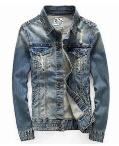 Online Shop New 2016 Korean Men's Denim Jacket Casual Slim Fit Jaquetas Masculinas Jaqueta Mens Coats And Jackets Swag Outfits Men, Stylish Mens Outfits, Denim Shirt Men, Denim Jacket Men, Jean Jacket Outfits, Denim Outfit, Raw Denim, Men's Denim, Men's Coats And Jackets