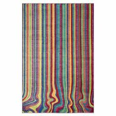 Crafted in Egypt, this vibrant rug showcases rainbow stripes with swirling ends.   Product: RugConstruction Material: PolypropyleneColor: MultiFeatures:  Power-loomedMade in EgyptNote: Please be aware that actual colors may vary from those shown on your screen. Accent rugs may also not show the entire pattern that the corresponding area rugs have.Cleaning and Care: Clean spills immediately by blotting with a clean sponge or cloth. Vacuum regularly. Professional cleaning recommended. Rug ...