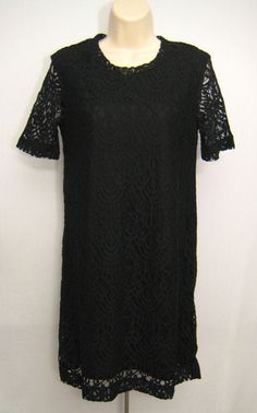 DIVIDED by H&M Black Lace Shift Dress Short Sleeve Lined Women's Size 12 New #DIVIDEDbyHM #BlackLaceShiftDress #WeartoWork