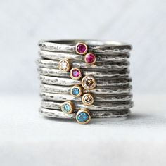 Gemstone or Diamond Stacking Ring 2.5mm Gemstone door LilianGinebra