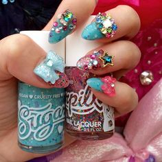 Dying of too much cuteness over @badkidbebe in #sugarpill Catmosphere and Space Junk nail lacquers! www.sugarpill.net #heavenlycreatures
