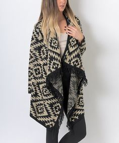 2dd5fc89fa This Cream  amp  Black Geometric Open Sidetail Cardigan is perfect!   zulilyfinds Lily