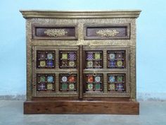For Sale Sheesham wood and Brass & Tile Fitted Side Board For More Information please Visit http://usedfurnitures.in/product/brass-tile-side-board-2023 or www.usedfurnitures.in or Call: 8826755599