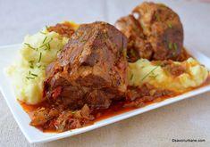 reteta friptura inabusita de porc la cuptor sau la oala sub presiune Romanian Food, Meatloaf, Meat Recipes, Main Dishes, Bacon, Pork, Food And Drink, Sweets, Beef