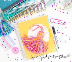 SPRING >>> Spring Sorbet JUMBO yarn tassel for Erin Condren, Plum Paper, Happy Planner, InkWell Press, Day Designer, LimeLife, & others by LaurenPhelpsDesigns on Etsy