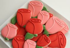 Rose cookies look wonderful in coordinating colors.  Add sticks to create an adorable cookie bouquet.