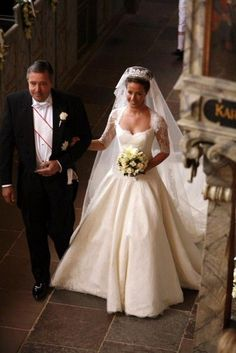 Alain Cavallier walks his daughter up the aisle; wedding of Prince Joachim of Denmark and ms Marie Cavallier on May 24, 2008