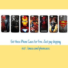 Flaunt your fealty to your favourite #Superhero with these FREE #iPhone cases. Grab yours now. #Marvel #DCComics #iphonecase #geek #nerd #deadpool #spiderman #batman #flash #captainamerica #internationalshipping #marvelcomics #mensfashion #mensstyle #squad