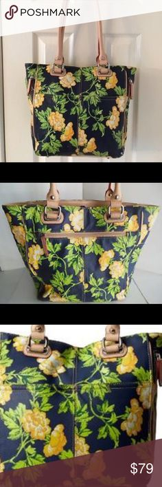 """Tignanello Bed of Roses Tote Navy and Yellow Beautiful Tignanello Bed of Roses painted leather tote in lovely navy and yellow. This roomy tote is in excellent pre owned condition with the only flaw being some rubbing on one corner (photo to be posted tomorrow). Otherwise this bag appears unused. Features:  Genuine Leather 14"""" W x 11-1/2"""" H x 4-1/2"""" D Double top handles with 10"""" drop Magnetic snap closure 2 front slip pockets; 2 side zip pockets; back zip pocket; interior features middle zip…"""