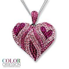 Pink Jewelry | Kay - Pink SWAROVSKI ELEMENTS Heart Necklace Sterling Silver